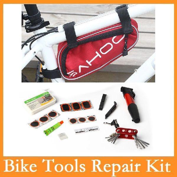 Wholesale-haute qualité original Sahoo 15 en 1 Kit de réparation de vélo à vélo à vélo Set avec pompe de poche rouge / bleu / noir 3 couleurs choix