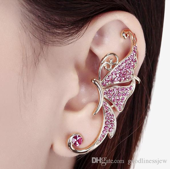 Clip On Pendientes Screw Statement Non perforado Butterfly Crystal Clip Pendientes Pierced Ears Cuffing Clip On Earrings