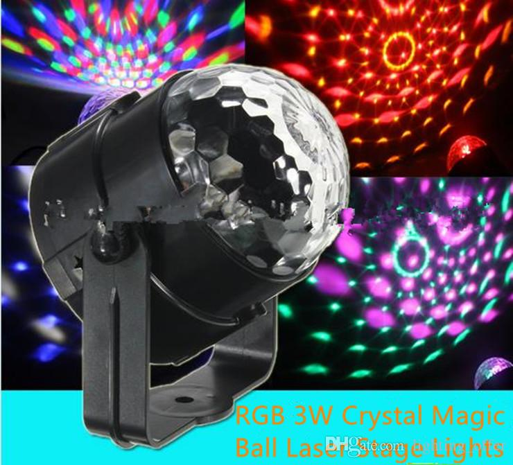 New LED Crystal Magic Ball Laser Stage Lighting 3W Sound Control Lights For Party Disco DJ Bar Bulb Mini LED Laser Lights Free Shipping