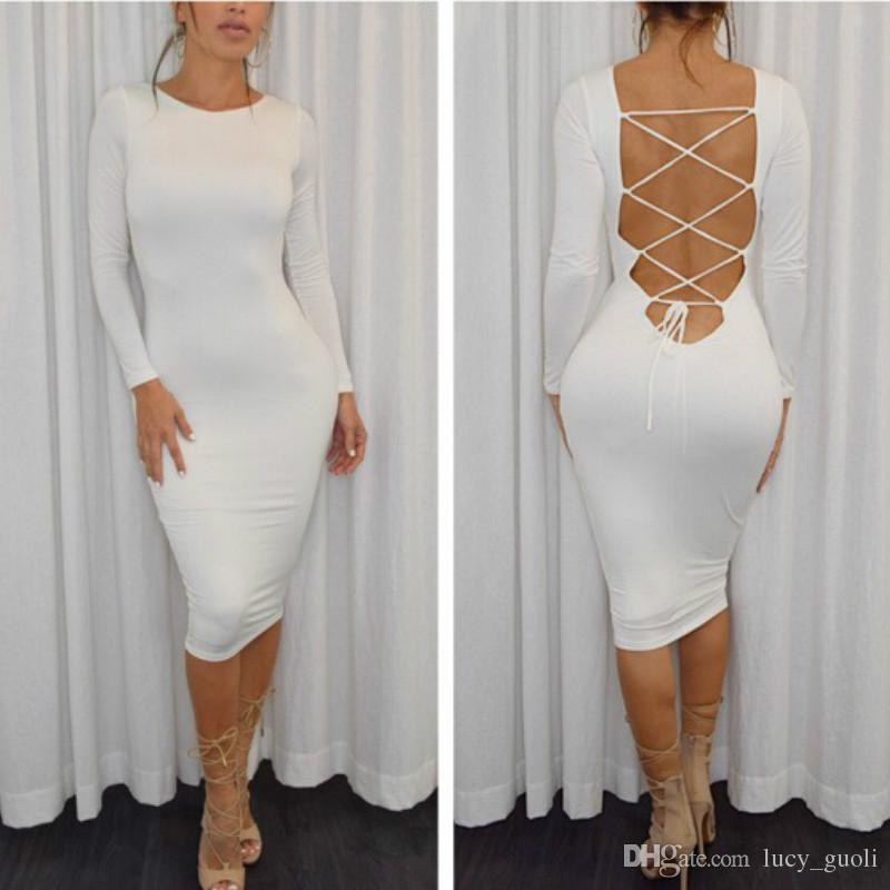 2016 Women Party Bodycon Dresses Autumn Long Sleeve Sexy Backless Criss-Cross Bandage Dress Cotton Casual knee length Outfits Plus size S-XL