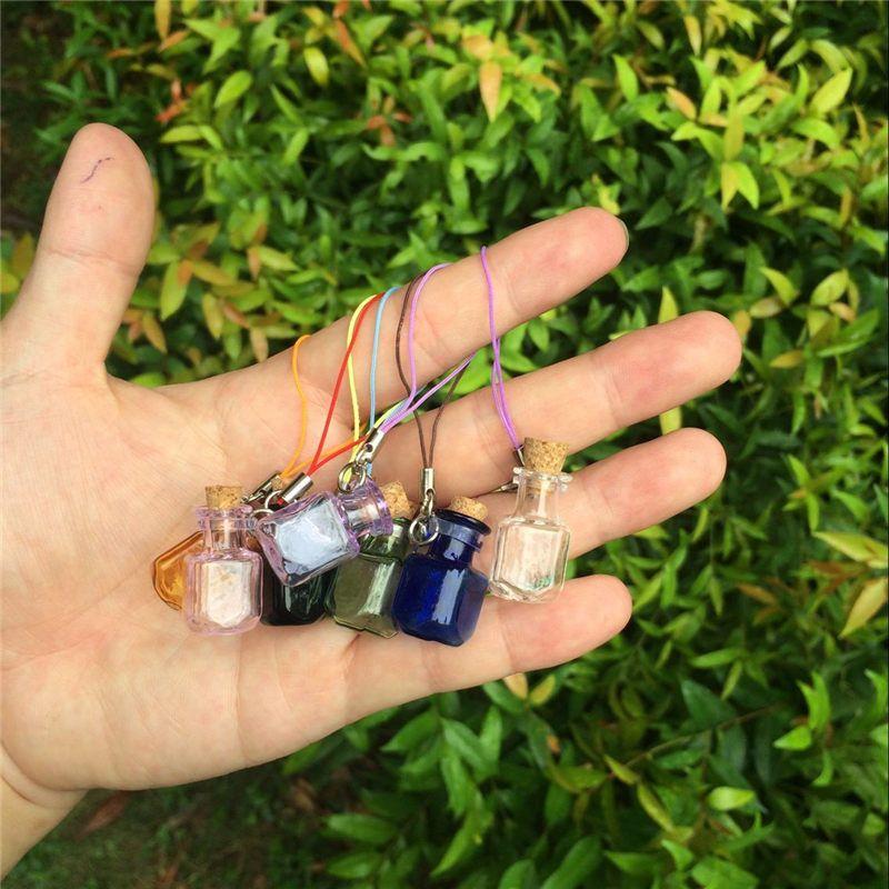 Bottles Rectangle Pendants Small Bottles with Key Chains Lobster Clasp Jars Glass Pendants For Bracelets (4)