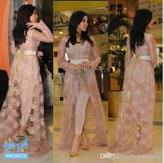 Kim Kardashian Fairy Tale Style Celebrity Gowns Lace Evening Dresses With Long Sleeves Appliqued Hi-lo Split Prom Gowns (Just Out Lace Coat)