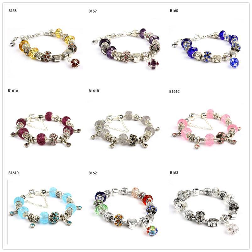 Lettering crown Tibetan silver glass beads Charm Bracelet,high grade women's DIY European Beads bracelet 6 pieces a lot mixed style GTPDB17
