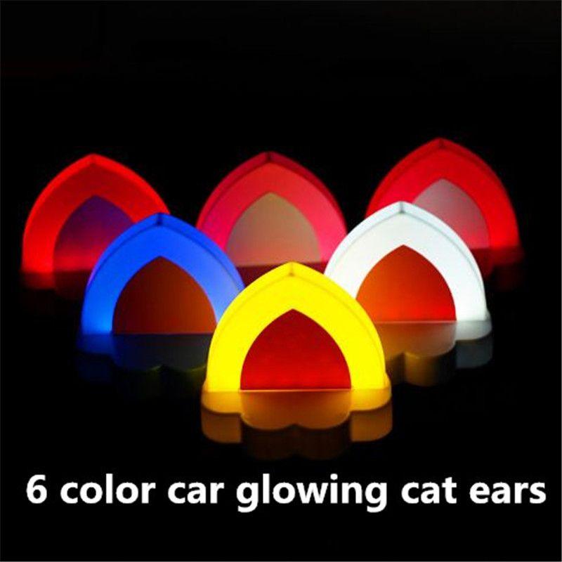 Divertido 6 colores brillantes decoraciones de coches oreja decoración de coches orejas de gato resplandecientes Vehículo Adornos de coches suministros Regalos de Navidad atp228