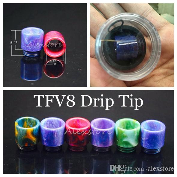 810 510 Thread Epoxy Resin Wide Bore Drip Tip Mouthpiece Vape Drip Tips for TFV8 Prince TFV8 Big Baby Atomizer 528 DHL