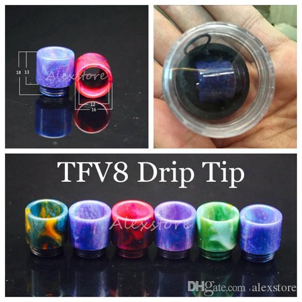 810 510 Discussione resina epossidica largo foro Drip Tip Bocchino Vape Drip Suggerimenti per TFV8 principe TFV8 Big Baby atomizzatore 528 DHL