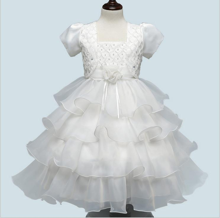 Children clothing summer 2017 new formal evening princess party beaded layered dresses sleeves wedding for girl kids 2 pieces