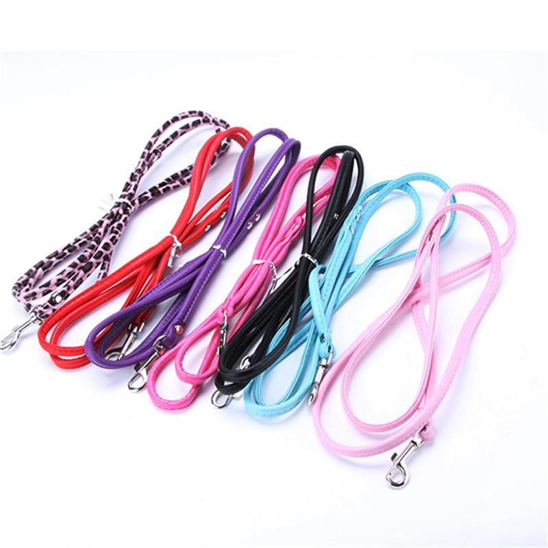 Pet Cat Puppy Dogs Leash Long Smooth PU Leather Leashes Solid Color Dog Walker Dog Girl Boy Rope Leashes 120cm