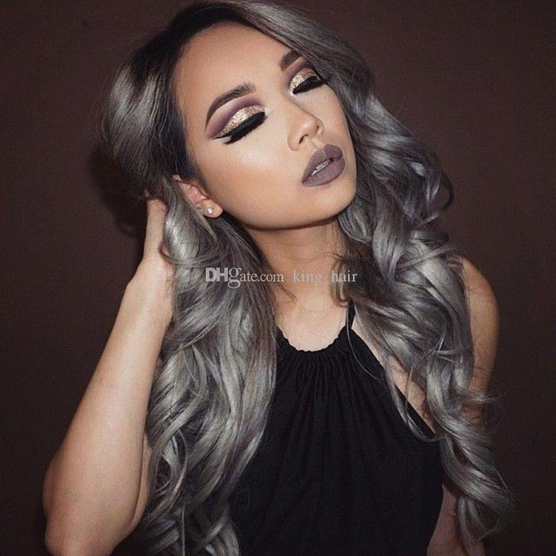 Middle Part Ombre Hair Wig Brazilian 1B/Grey full lace Wig Silk Base Top 4*4 Sliver Grey Lace Front Wig With Baby Hair