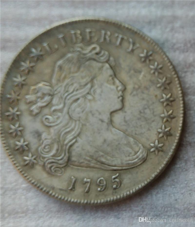 الولايات المتحدة رايات تمثال نصفي الدولار 1795 عملات نسخ هجر الفاظ قديم تبحث الولايات المتحدة عملات النحاس الحرف  بيع كامل شحن مجاني