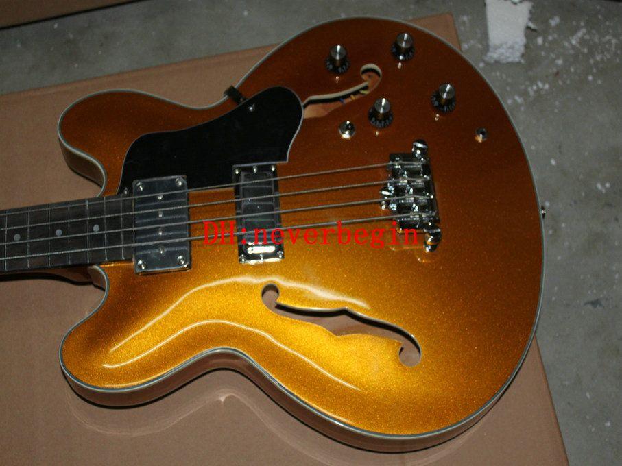 Wholesale Custom hollow 4 strings bass Golden Electric Bass Guitar EB-2 BASS Guitars China guitar Free shipping
