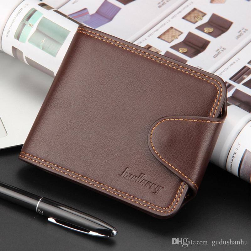 Мужчины Короткие бумажники Высокое качество PU кожаный бумажник для мужчин Бизнес кошелек Марка кошелек для держателя карты Человек Карманный коричневый Черный 66