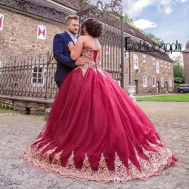 Cheap Arabic Style Red Wedding Dresses New Sweetheart Applique