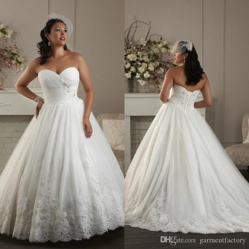 Corset Plus Size Wedding Dresses Sweetheart Neckline Ruched Bodice ...