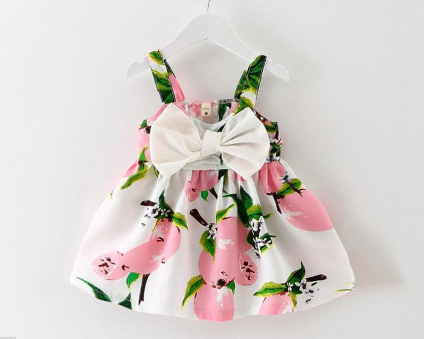 Korean Fashion Girl's Harness Dress Bow Floral Mini Dress Suspender Kids Clothing Cute Baby Dresses Free Shipping