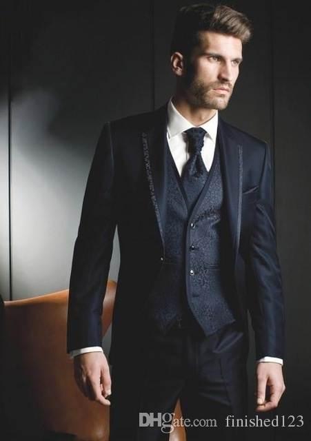 Yeni Tasarım Tek Düğme Donanma Mavi Damat Smokin Groomsmen En Iyi Adam Mens Düğün Blazer Suits (Ceket + Pantolon + Yelek + Kravat) No: 569