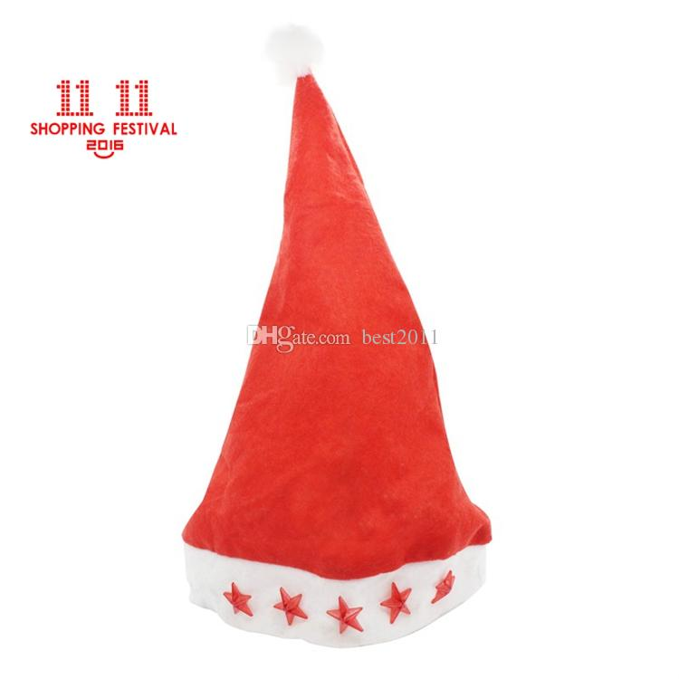 11.11 Shopping Festival Led Flashing Christmas Hats XMAS Santa Claus'cap Light Up Caps Stars Non-woven Christmas hats Free Shipping