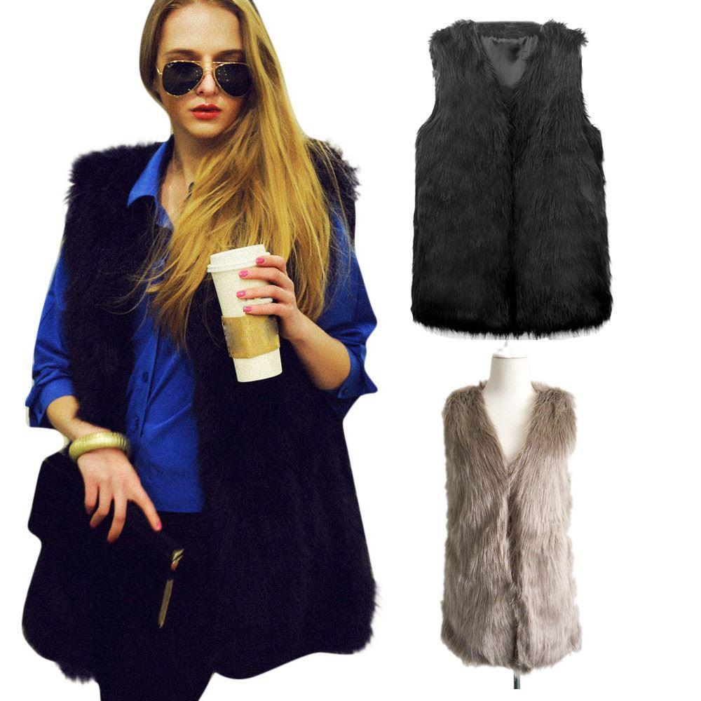 2017 Women's Winter Autumn Warm Faux Fur Vest Casacos Femininos Solid Sleeveless Coat Outerwear Hair Jacket Waistcoat Plus Size