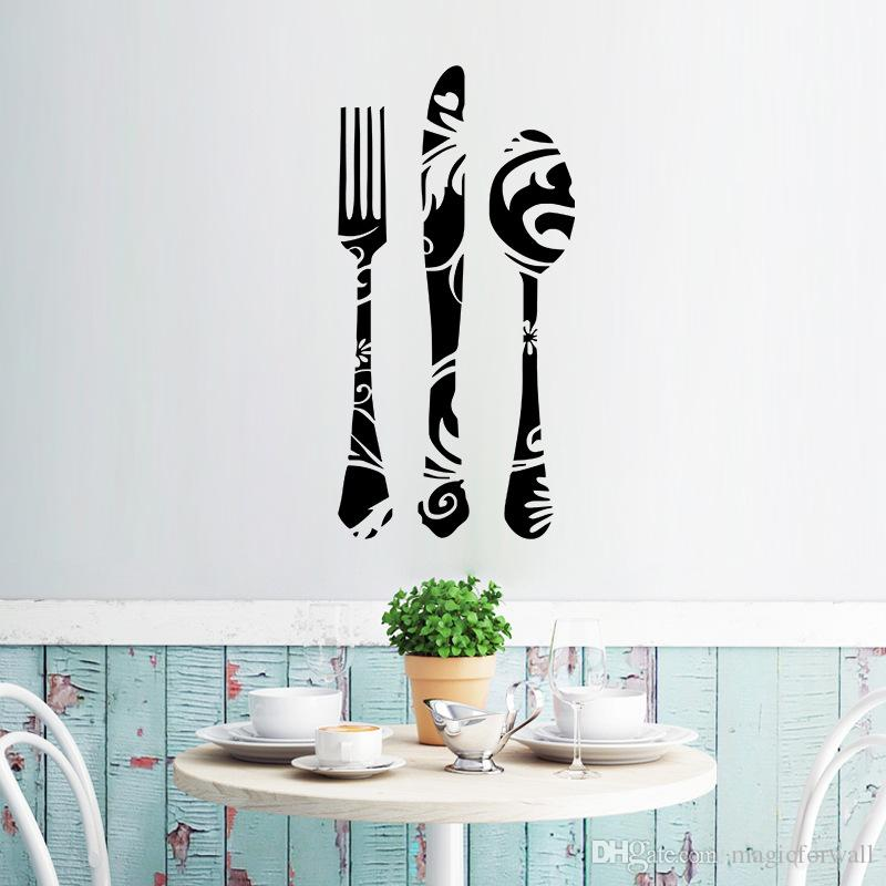 Black Fork Knives Spoon with Texture Wall Stickers Window Glass Decor Wall Applique