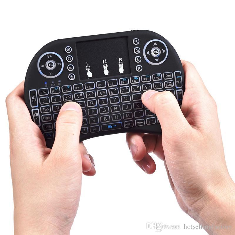 Combo tastiera e mouse wireless retroilluminato da 2,4 GHz mini con touchpad LED Telecomando per PC Android TV Box Windows XP Vista 7 8 10