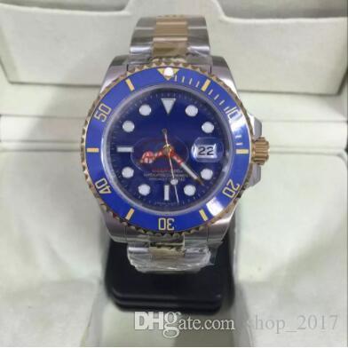 Usine en gros nouvelle montre hommes saphir céramique lunette bleu luxe automatique argent 18 carats en acier inoxydable fermoir original mens montres