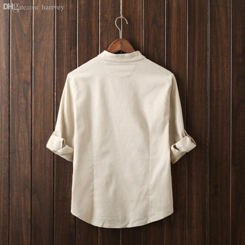 Wholesale-2016 neue Herbstmode Marke Männer Dank Flachs reine Farbe Mann Shirt sieben chinesischen Stil Hemd Ärmel grau Beige blau Armee