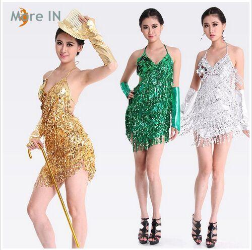 Vestido latino Vestido dorado y plateado para mujer Vestido de baile latino Disfraces lentejuelas Salsa faldas a la venta 4 colores