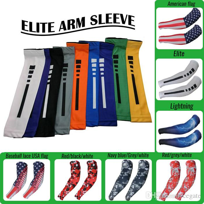 Wholsale 2016 New! Compression arm sleeve sport flag baseball softball football basketball camouflage more than 121 kinds of colors