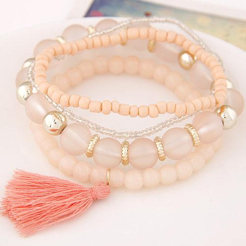 High End Bohemia Costume Jewelry Jelly Beads Balsl Resin Crystal Tassel Wrist Accessories Elastic Charn Wrap Multilayer Bracelets For Women