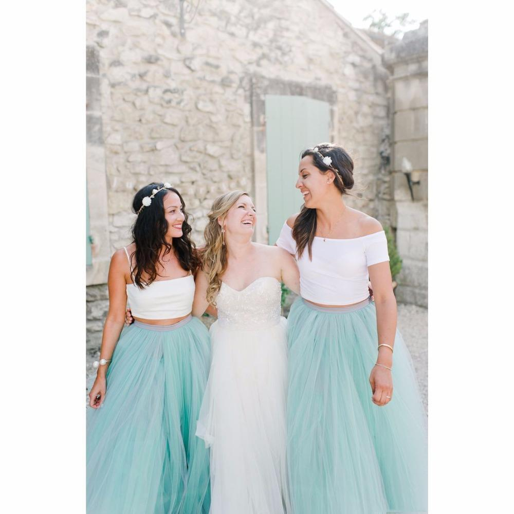 Tutu Skirts for Bridesmaid 2016 Cheap Mint Color Ball Gown Tulle Skit Maid Of Honor Women's Skirts