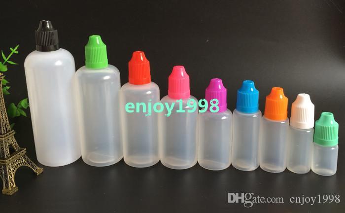 Wholesale PE Needle Bottle 5ml 10ml 15ml 20ml 30ml 50ml 60ml 100ml 120ml Plastic Dropper Bottles ChildProof Caps LDPE E Liquid Empty Bottle