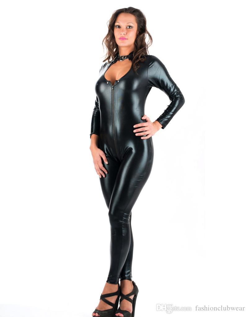 Compre 5xl Tallas Grandes Sexy Novedad Mujeres Negro Faux Leather Latex Catsuit Cremallera Mono Delantero Vestido De Lujo Fetish Erotic Body Suit Pu A 16 51 Del Fashionclubwear Dhgate Com