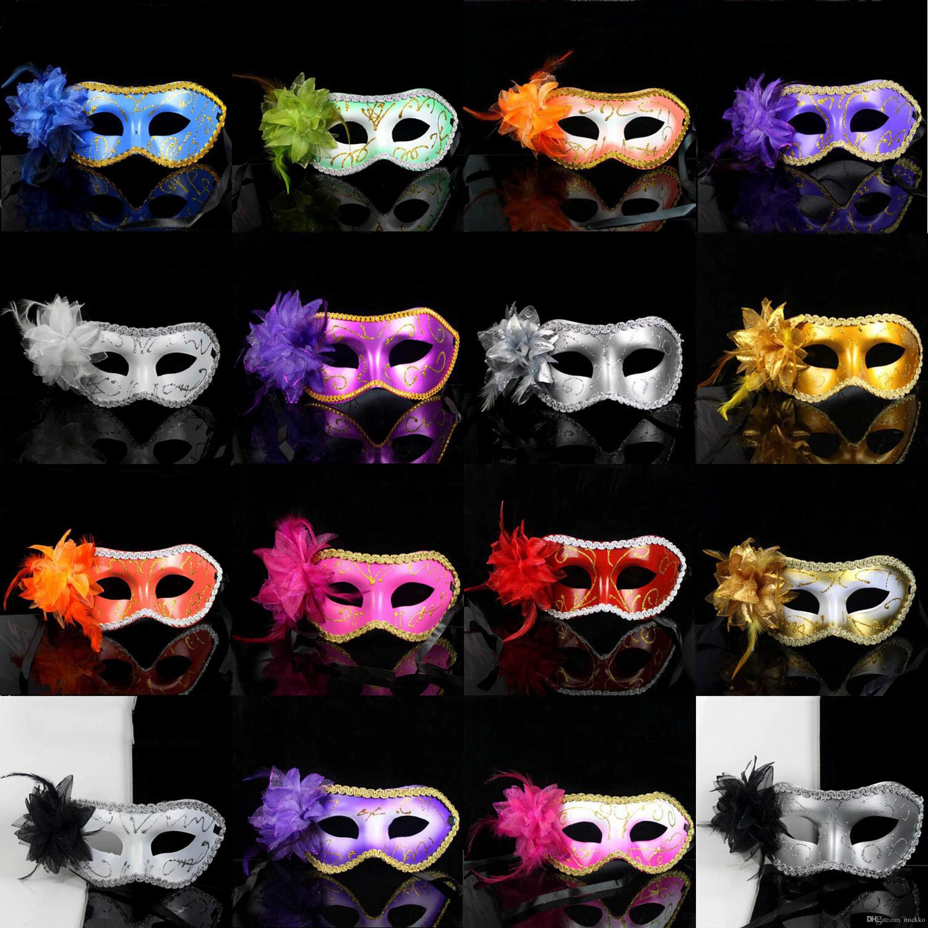 Serin Kadınlar Yan Çiçek Masquerade Maskeleri 19 Renkler Kadınlar Moda Yarım Yüz Cadılar Bayramı Maskeleri Cadılar Bayramı Partisi Kutlama PVC Maskeleri