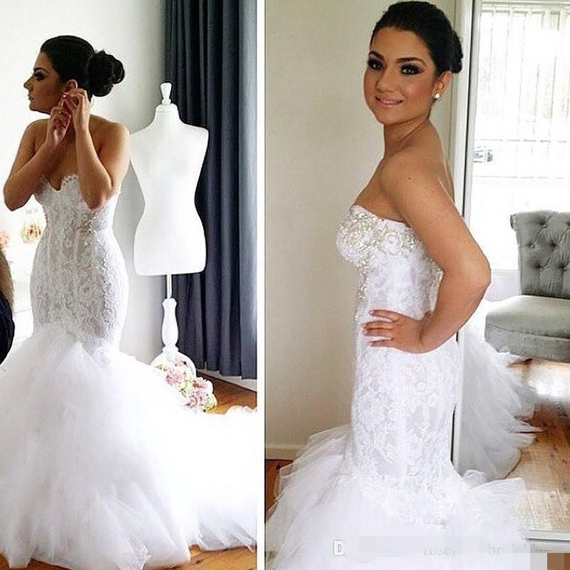 인어 스타일 레이스 웨딩 드레스 2016 진주 소프트 얇은 명주 화이트 아이보리 플러스 사이즈 크리스탈 웨딩 드레스 신부 가운 깎아 지른듯한