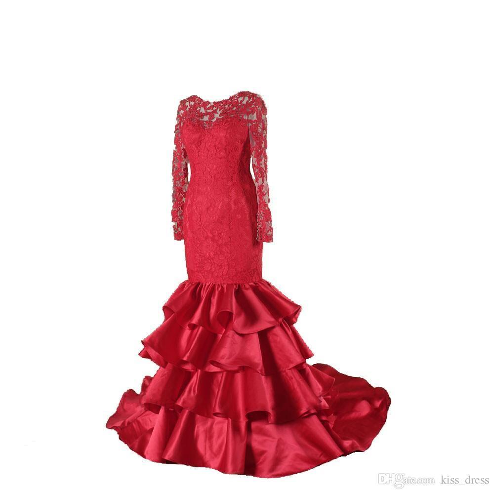 Moda stile rosso sirena da sera abito da sera manica lunga backless gioiello collo pizzo ruffles raso 2019 abiti da festa su misura
