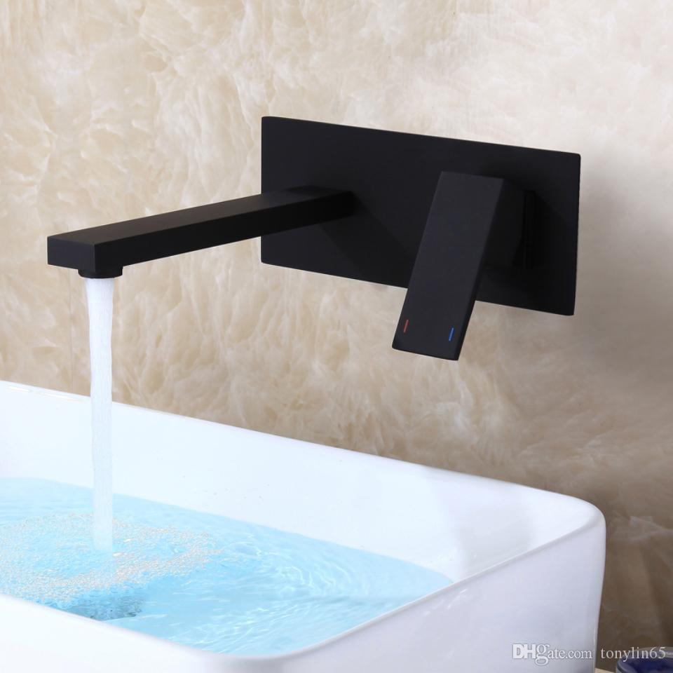 CC mate esmerilado negro lavabo del grifo de agua caliente y fría montaje en pared lavabo mezclador grifo para hornear barniz sola manija de agua