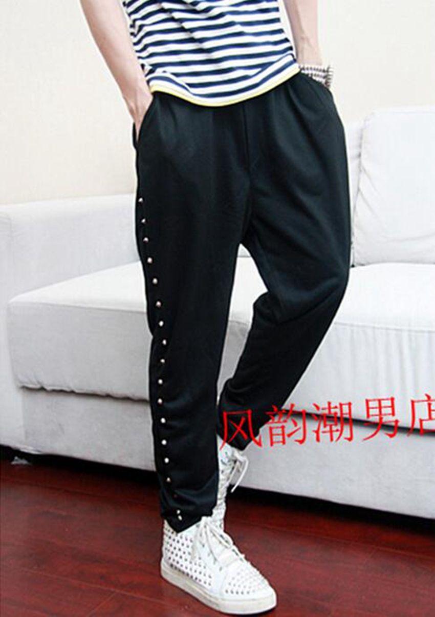 Men's spring han edition new leisure haroun pants rivet new fashion personality big yards of non-mainstream pants / 27-42
