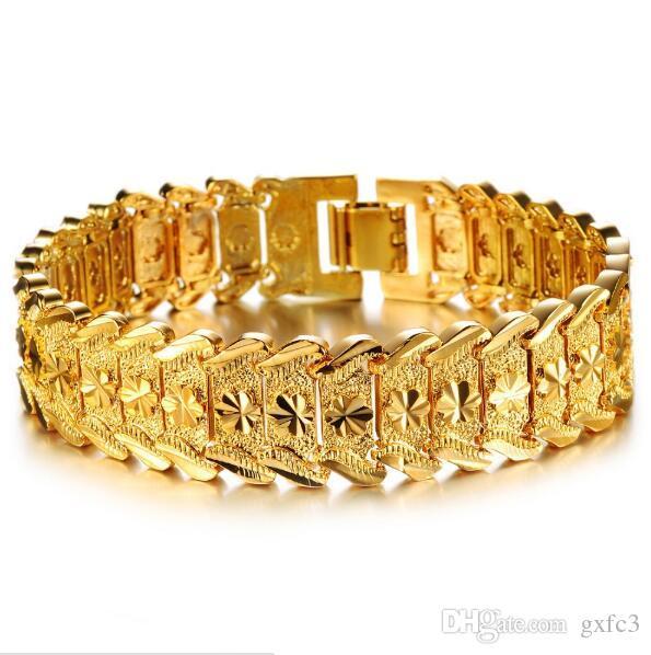 Haute Qualité Hommes 18k Jaune or Plaquées Bracelets 20cm