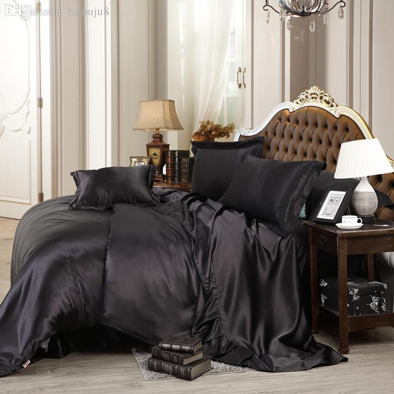 Set di biancheria da letto di lusso all'ingrosso-nero in raso di seta solido 4 pezzi Queen / King Size Biancheria per la casa Tessili per la casa Biancheria da letto Copripiumino Set Lenzuolo