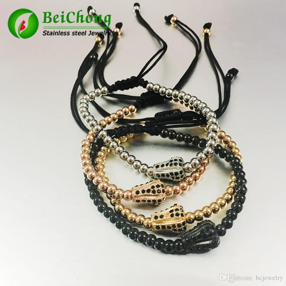 10pcs Anil Arjandas Bracciali da uomo 24K oro placcato oro micro pavimentazione nera cz corona Briading macrame bracciale Pulseira feminina