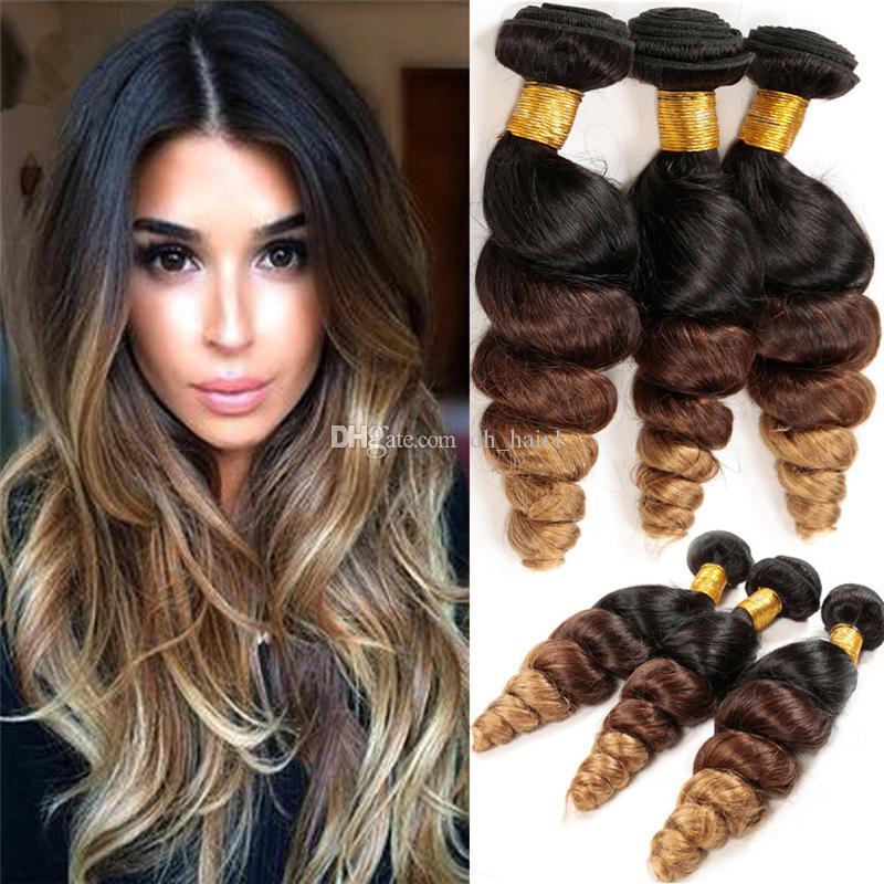 3Pcs Lot Ombre Peruvian Hair 3 Bundles Loose Wave Human Hair Extensions Three Tone Ombre Peruvian Loose Wave Hair Bundles