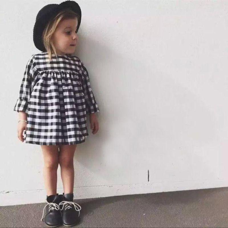 503bb2d13734d 2019 2019 Spring Fall INS Baby Girls Dress Little Girl Black White Plaid  Toddler Dress Cute High Waist Long Sleeve 100%cotton 1T 2T 3T 4T 5T 6T From  ...