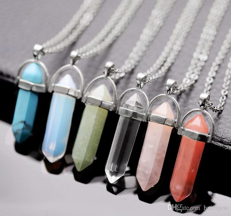 Bulk Charms bullet Women Jewelry Cheap Opal Jade Natural Stone Pendant Glass Resin Quartz Healing Crystals Long Gold Chain Choker Necklaces