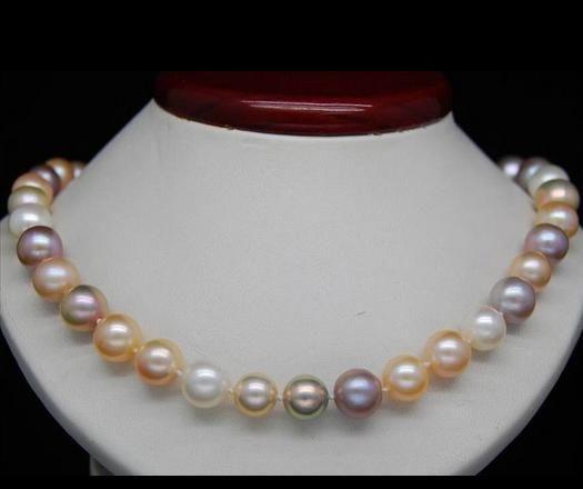 Großhandel 8-9mm Südsees weiß, rosa, lila Perlenkette 18inch 14-karätigem Gold Spange
