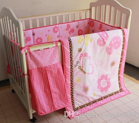 8Pcs Baby bedding set Crib bedding set Embroidered pink butterfly Cot Bedding set Quilt Bumper Mattress Cover BedSkirt Urinebag