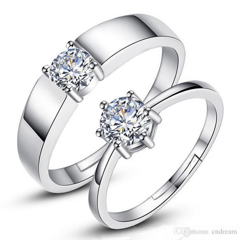 Argento Anello di diamanti amanti donne gioielli paio anelli registrabili anelli di fidanzamento per gli anelli di nozze le donne degli uomini