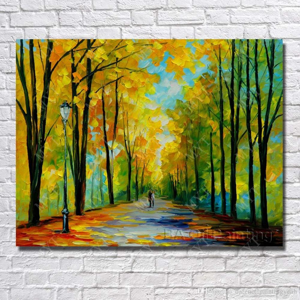 Palette Knife Oil Painting Spring Landscape Wall Art Hand painted ...