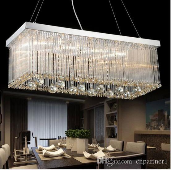 Acheter Luxe Ac110 240v Moderne Rectangulaire Lustres En Cristal Pendentif Lumiere Salle A Manger Longueur 80 Cm 100 Cm Led Lampe De Plafond Avec 6