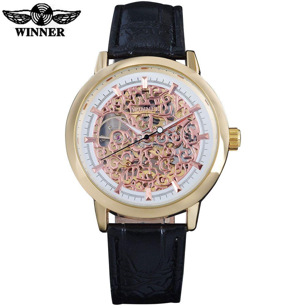 GANADOR Mano Viento Mecánico Relojes antiguos Esfera hueca Caja dorada Moda Negocio Reloj de cuero negro Tres colores SLZa81