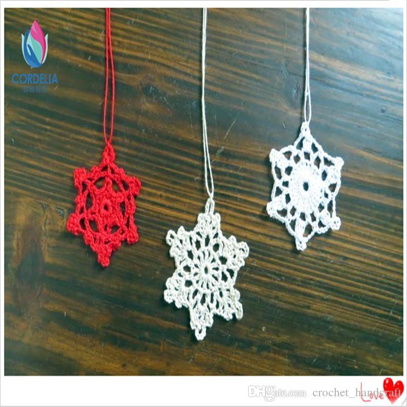 50 piezas de porcelana de estrella Últimos productos chinos decorativo por arranques del ganchillo del algodón natual para los accesorios de los chirstmas de árboles para la venta